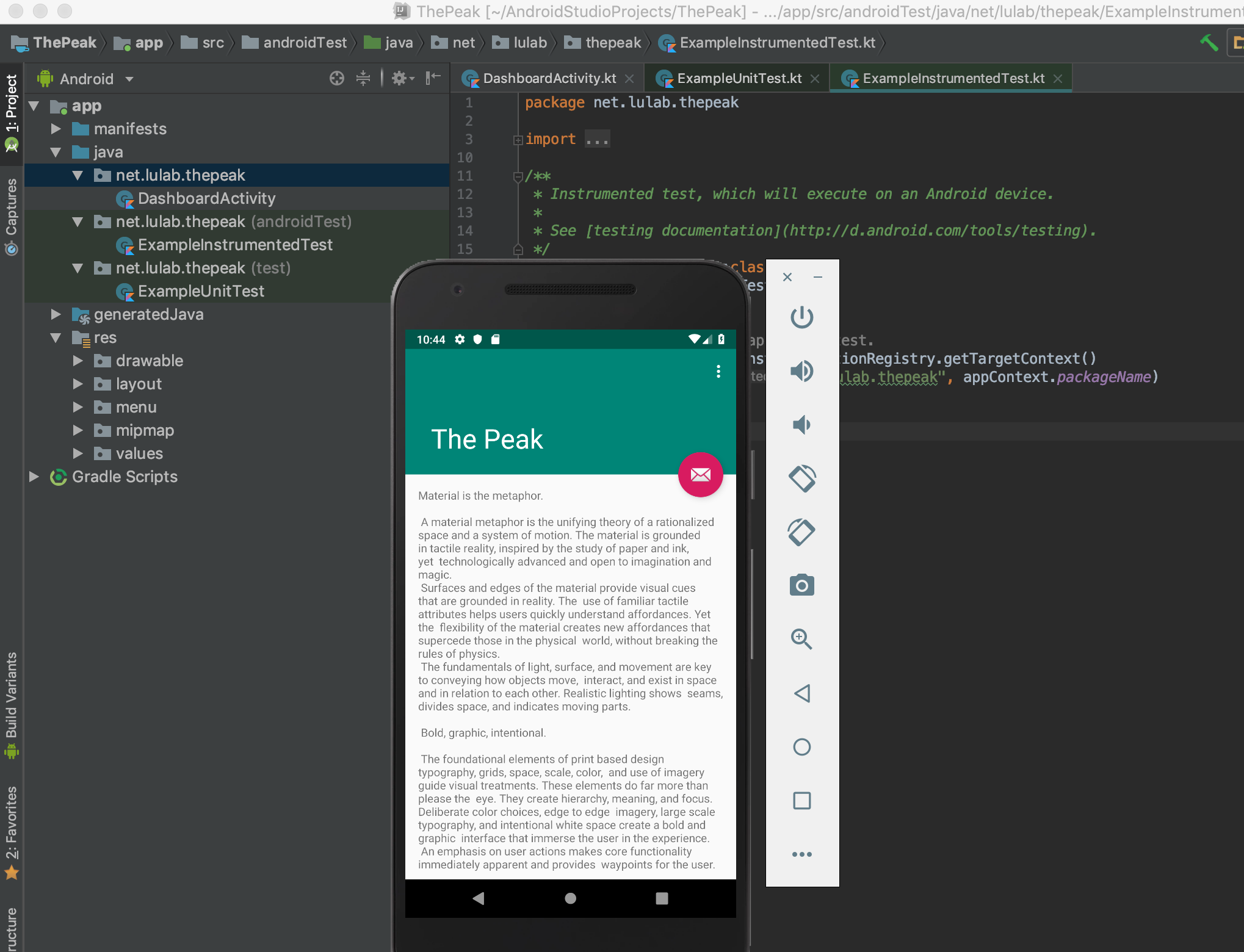 thepeak-project-with-android-studio